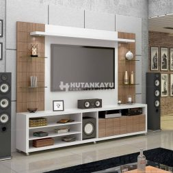 Backdrop TV Minimalis White Brown