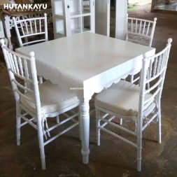 Meja Makan Cafe Tiffany Kotak Hutankayu Furniture Mebel Jati Jepara