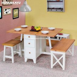 Meja Makan Transformer Set Hutankayu Furniture Mebel Jati Jepara 01